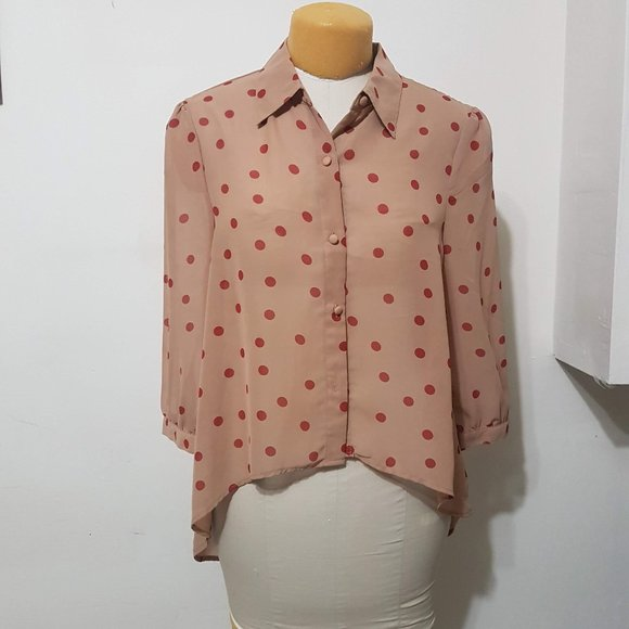 Red and Beige Polka Dot Blouse
